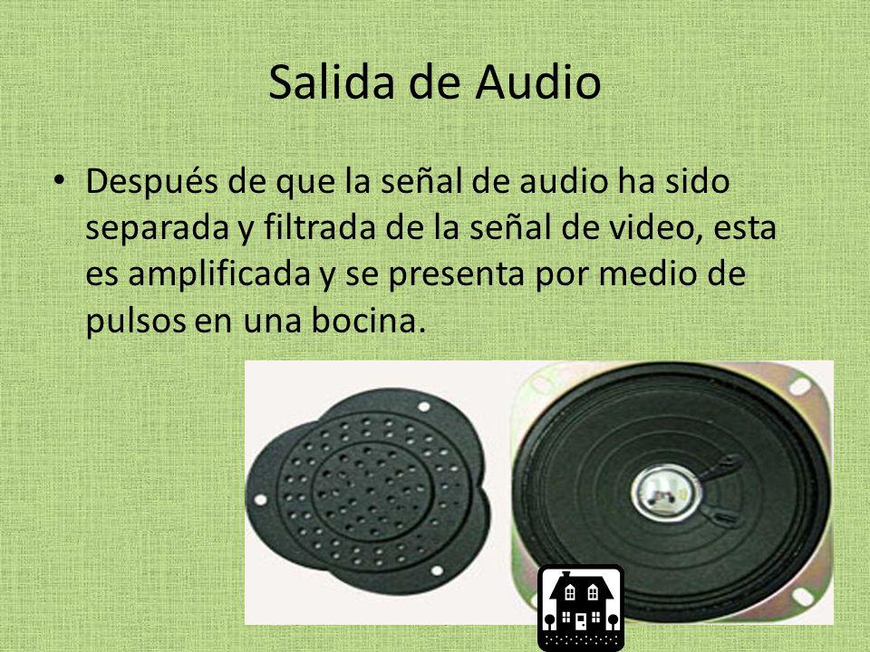 Salida de Audio Después de que la señal de audio ha sido separada y filtrada de la señal de video, esta es amplificada y se presenta por medio de pulsos en una bocina.