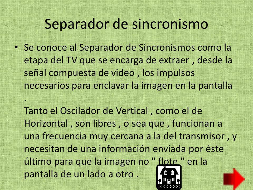 Separador de sincronismo Se conoce al Separador de Sincronismos como la etapa del TV que se encarga de extraer, desde la señal compuesta de video, los impulsos necesarios para enclavar la imagen en la pantalla.
