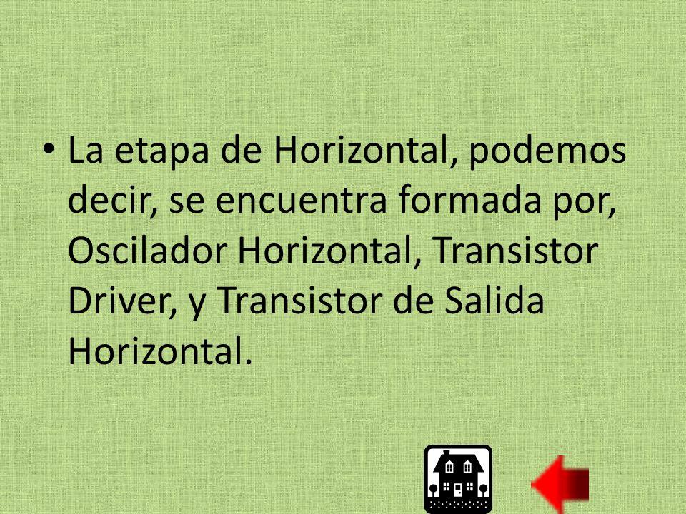 La etapa de Horizontal, podemos decir, se encuentra formada por, Oscilador Horizontal, Transistor Driver, y Transistor de Salida Horizontal.