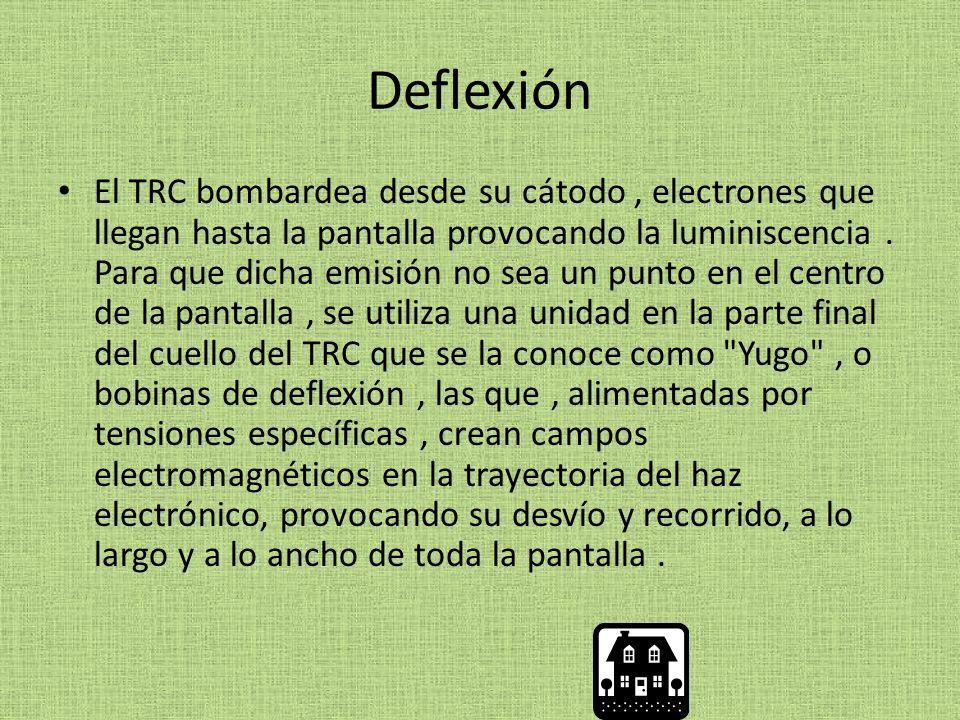 Deflexión El TRC bombardea desde su cátodo, electrones que llegan hasta la pantalla provocando la luminiscencia.