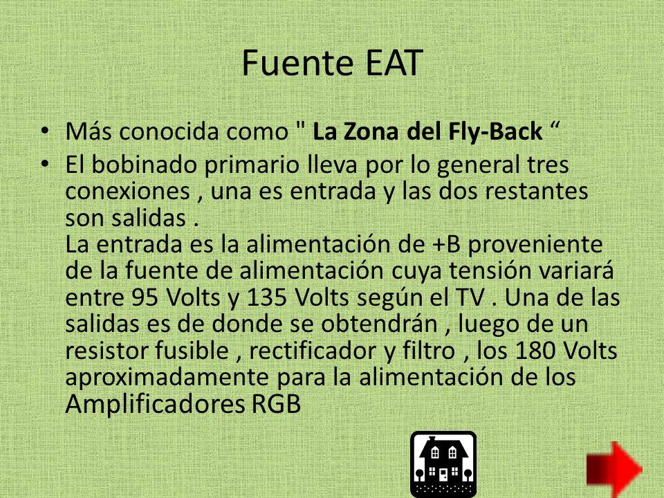 Fuente EAT Más conocida como La Zona del Fly-Back El bobinado primario lleva por lo general tres conexiones, una es entrada y las dos restantes son salidas.
