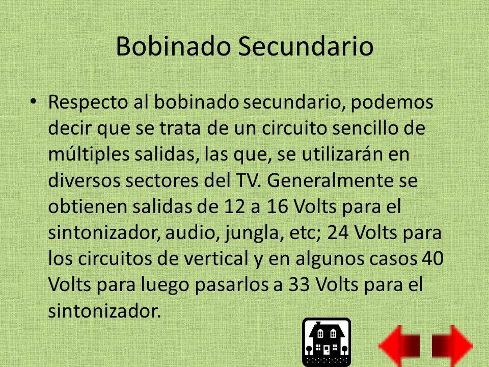 Bobinado Secundario Respecto al bobinado secundario, podemos decir que se trata de un circuito sencillo de múltiples salidas, las que, se utilizarán en diversos sectores del TV.