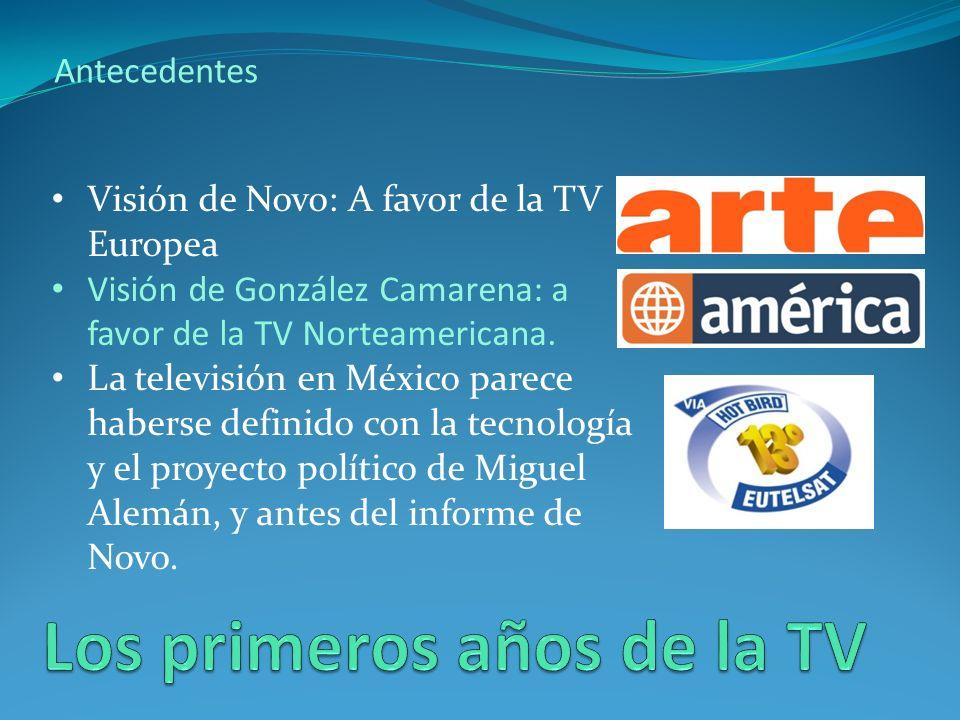 Antecedentes Visión de Novo: A favor de la TV Europea Visión de González Camarena: a favor de la TV Norteamericana.
