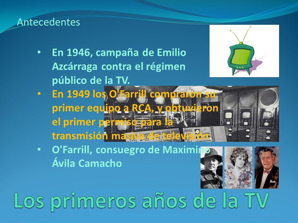 Antecedentes En 1946, campaña de Emilio Azcárraga contra el régimen público de la TV.