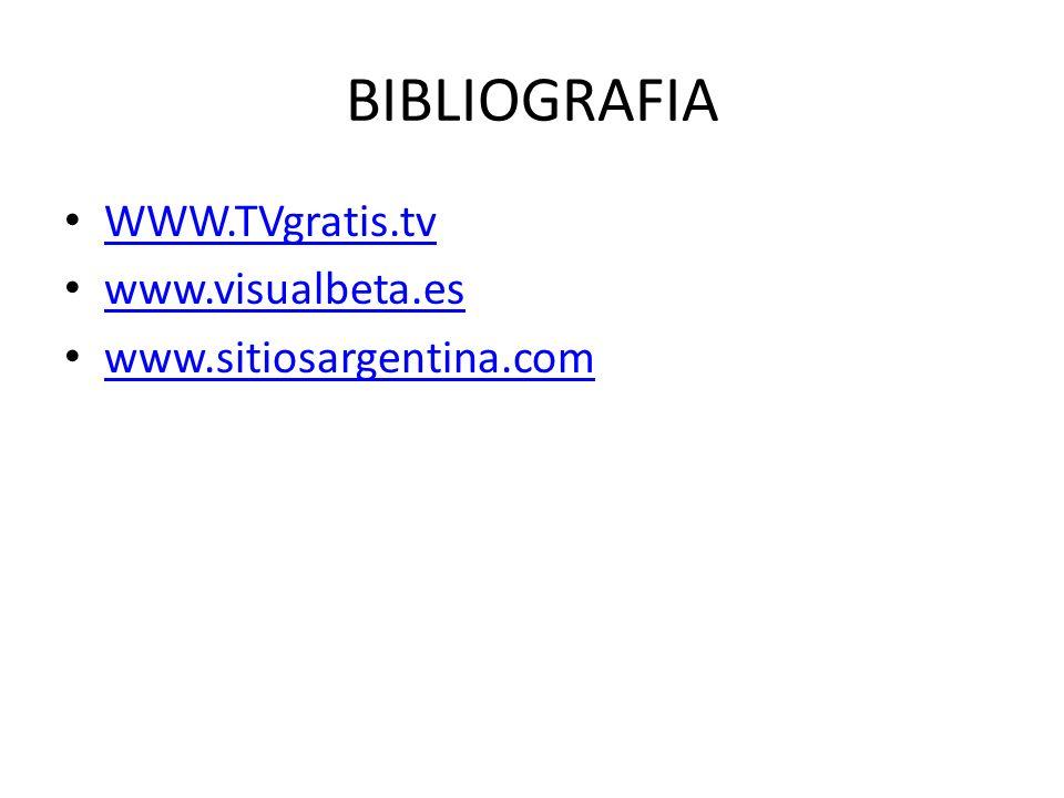 BIBLIOGRAFIA WWW.TVgratis.tv www.visualbeta.es www.sitiosargentina.com