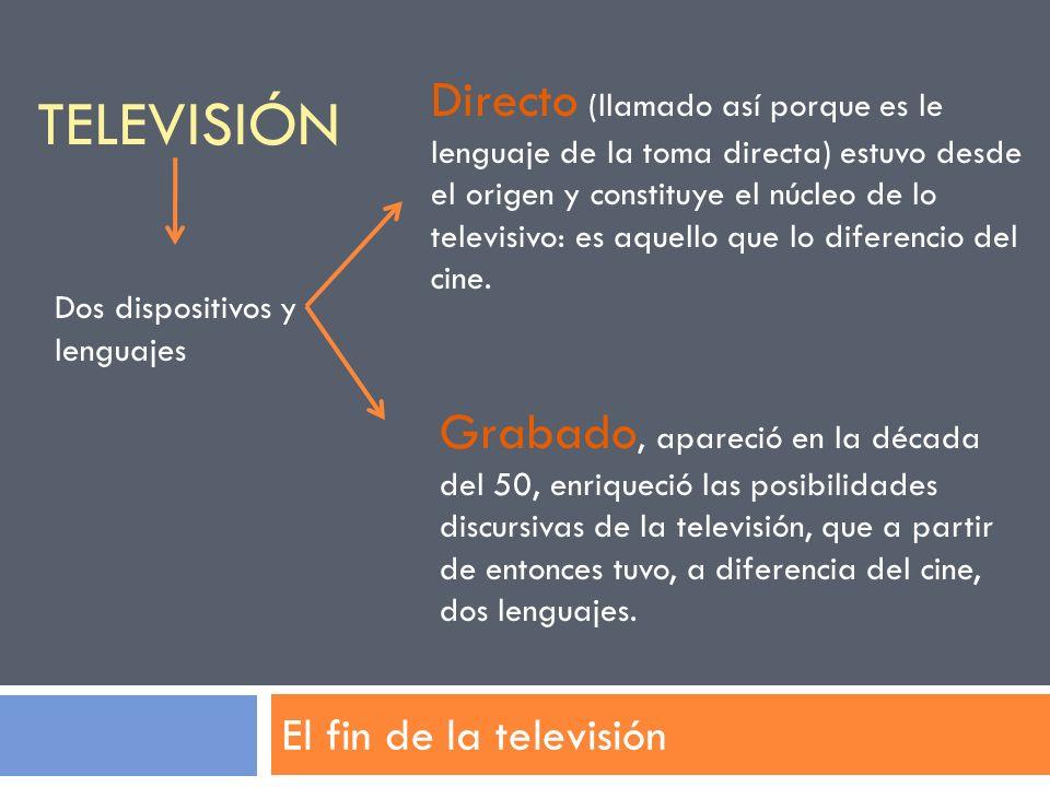 TELEVISIÓN El fin de la televisión Dos dispositivos y lenguajes Directo (llamado así porque es le lenguaje de la toma directa) estuvo desde el origen