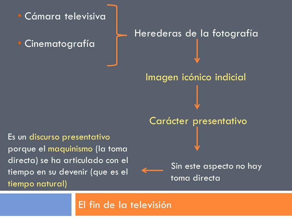 El fin de la televisión Cámara televisiva Cinematografía Herederas de la fotografía Imagen icónico indicial Carácter presentativo Sin este aspecto no