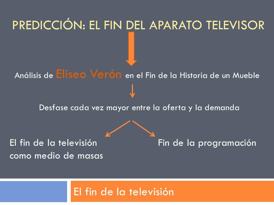 PREDICCIÓN: EL FIN DEL APARATO TELEVISOR El fin de la televisión Análisis de Eliseo Verón en el Fin de la Historia de un Mueble Desfase cada vez mayor