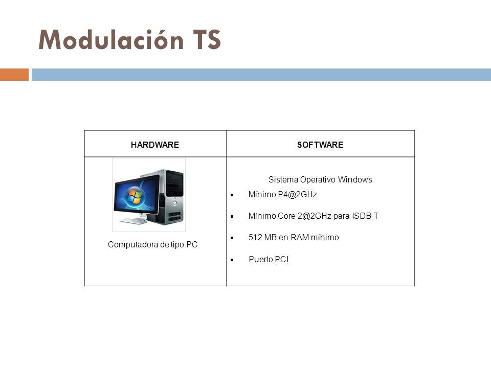 Modulación TS HARDWARESOFTWARE Computadora de tipo PC Sistema Operativo Windows Mínimo P4@2GHz Mínimo Core 2@2GHz para ISDB-T 512 MB en RAM mínimo Puerto PCI