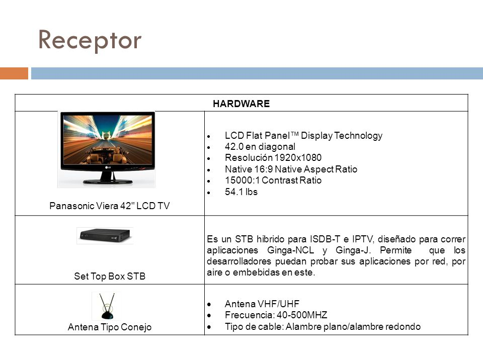 Receptor HARDWARE Panasonic Viera 42 LCD TV LCD Flat Panel Display Technology 42.0 en diagonal Resolución 1920x1080 Native 16:9 Native Aspect Ratio 15000:1 Contrast Ratio 54.1 lbs Set Top Box STB Es un STB hibrido para ISDB-T e IPTV, diseñado para correr aplicaciones Ginga-NCL y Ginga-J.