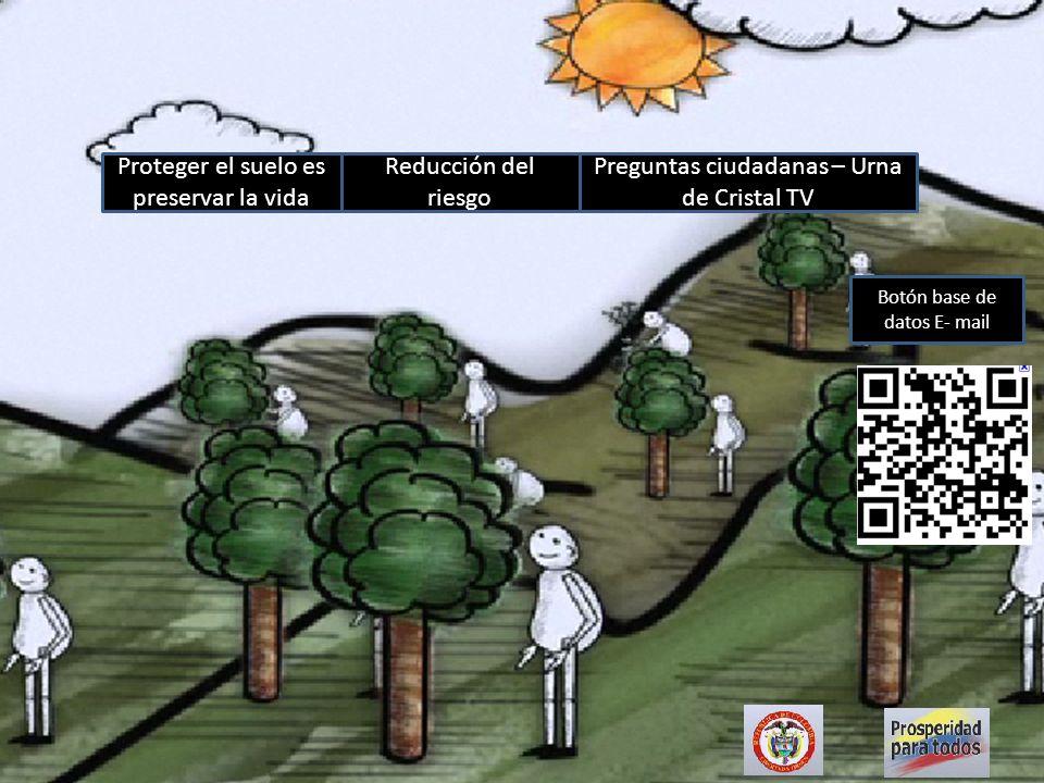 Proteger el suelo es preservar la vida Reducción del riesgo Preguntas ciudadanas – Urna de Cristal TV Botón base de datos E- mail