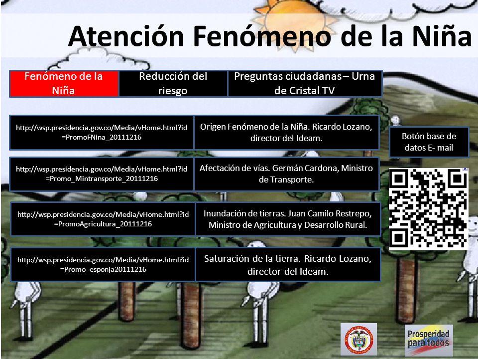 Fenómeno de la Niña Reducción del riesgo Preguntas ciudadanas – Urna de Cristal TV Atención Fenómeno de la Niña http://wsp.presidencia.gov.co/Media/vH