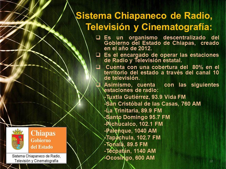 Sistema Chiapaneco de Radio, Televisión y Cinematografía: Es un organismo descentralizado del Gobierno del Estado de Chiapas, creado en el año de 2012