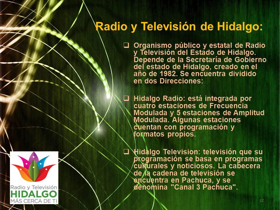 Radio y Televisión de Hidalgo: Organismo público y estatal de Radio y Televisión del Estado de Hidalgo. Depende de la Secretaría de Gobierno del estad