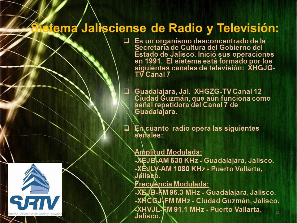 Sistema Jalisciense de Radio y Televisión: Es un organismo desconcentrado de la Secretaría de Cultura del Gobierno del Estado de Jalisco. Inició sus o