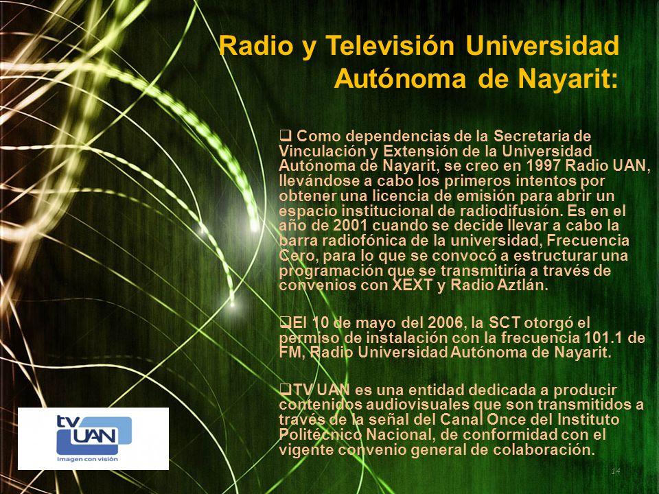 Radio y Televisión Universidad Autónoma de Nayarit: Como dependencias de la Secretaria de Vinculación y Extensión de la Universidad Autónoma de Nayari