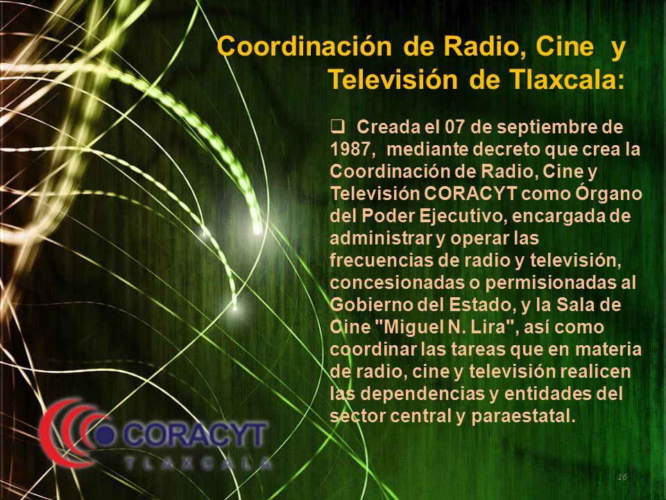 Coordinación de Radio, Cine y Televisión de Tlaxcala: Creada el 07 de septiembre de 1987, mediante decreto que crea la Coordinación de Radio, Cine y T