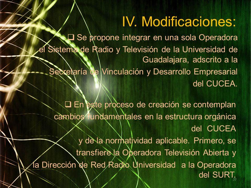 IV. Modificaciones: Se propone integrar en una sola Operadora el Sistema de Radio y Televisión de la Universidad de Guadalajara, adscrito a la Secreta