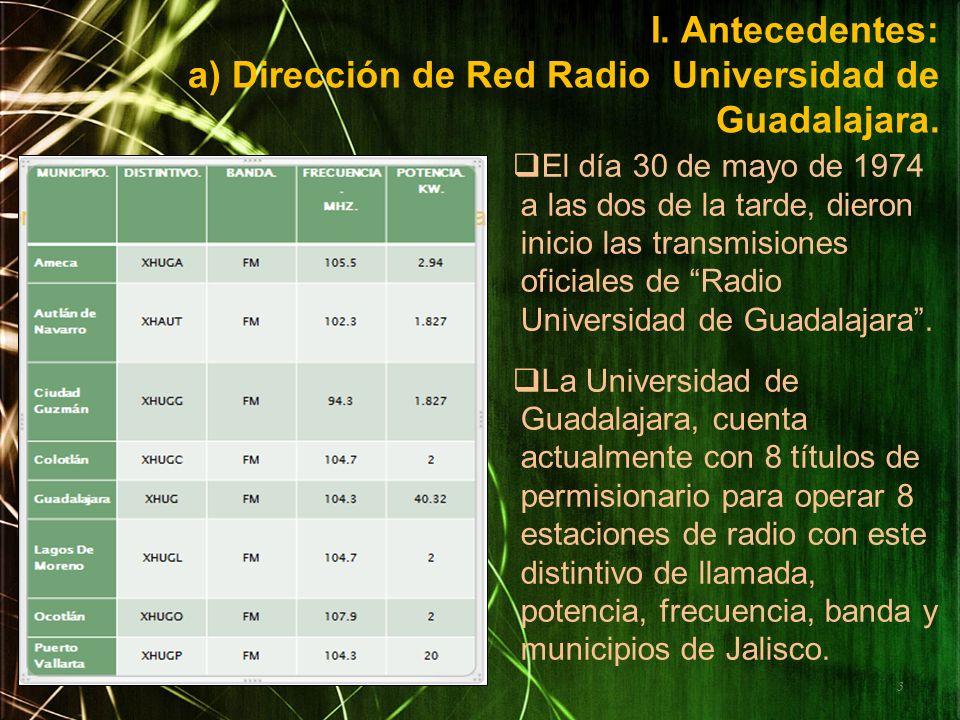 I. Antecedentes: a) Dirección de Red Radio Universidad de Guadalajara. El día 30 de mayo de 1974 a las dos de la tarde, dieron inicio las transmisione
