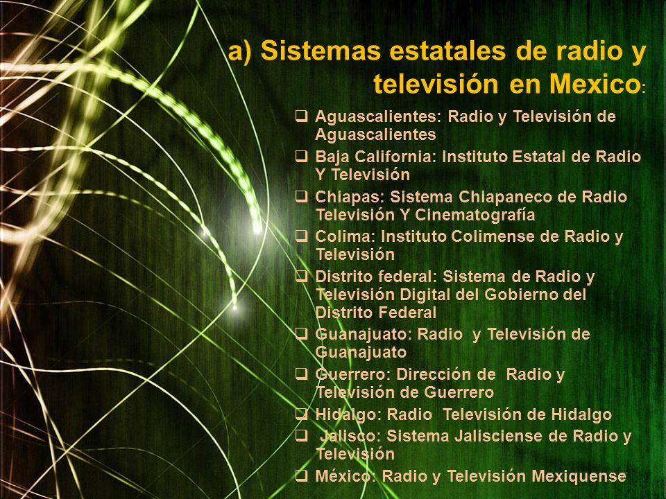 Aguascalientes: Radio y Televisión de Aguascalientes Baja California: Instituto Estatal de Radio Y Televisión Chiapas: Sistema Chiapaneco de Radio Tel