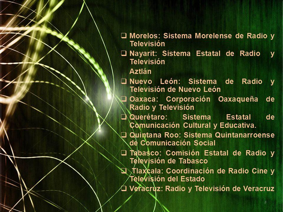 Morelos: Sistema Morelense de Radio y Televisión Nayarit: Sistema Estatal de Radio y Televisión Aztlán Nuevo León: Sistema de Radio y Televisión de Nu