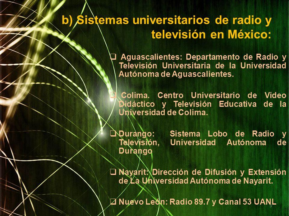 b) Sistemas universitarios de radio y televisión en México: Aguascalientes: Departamento de Radio y Televisión Universitaria de la Universidad Autónom
