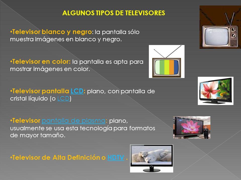 ALGUNOS TIPOS DE TELEVISORES Televisor blanco y negro : la pantalla sólo muestra imágenes en blanco y negro. Televisor en color: la pantalla es apta p