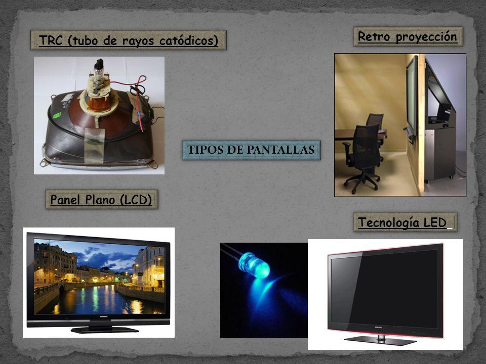 TIPOS DE PANTALLAS TRC (tubo de rayos catódicos) Retro proyección Panel Plano (LCD) Tecnología LED