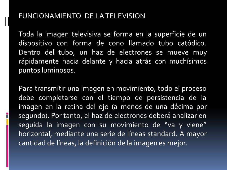 FUNCIONAMIENTO DE LA TELEVISION Toda la imagen televisiva se forma en la superficie de un dispositivo con forma de cono llamado tubo catódico. Dentro