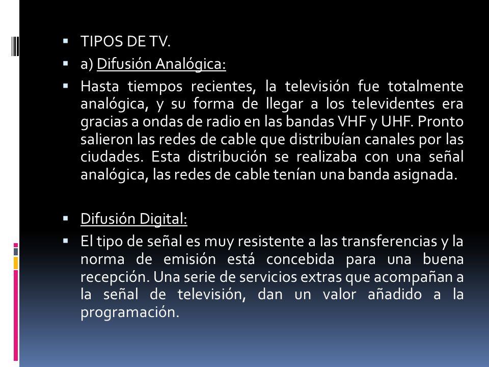 TIPOS DE TV. a) Difusión Analógica: Hasta tiempos recientes, la televisión fue totalmente analógica, y su forma de llegar a los televidentes era graci