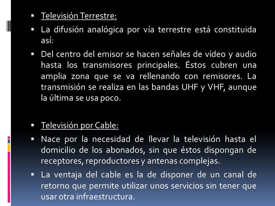 Televisión Terrestre: La difusión analógica por vía terrestre está constituida así: Del centro del emisor se hacen señales de vídeo y audio hasta los