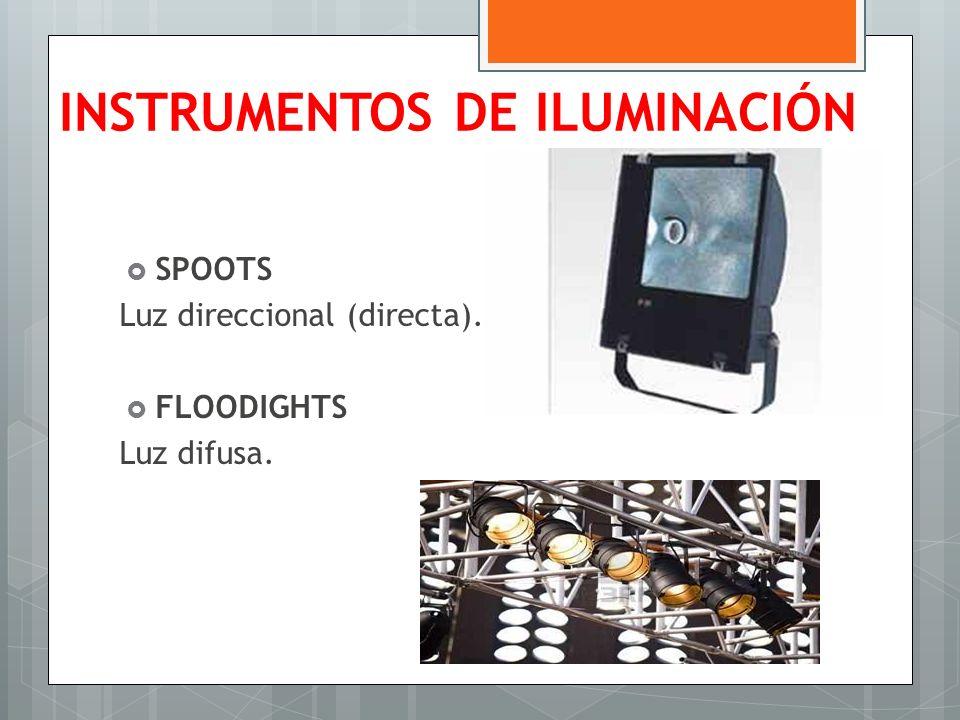 INSTRUMENTOS DE ILUMINACIÓN SPOOTS Luz direccional (directa). FLOODIGHTS Luz difusa.