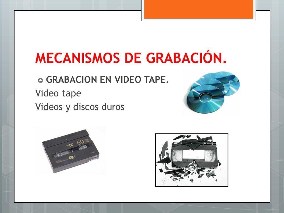 MECANISMOS DE GRABACIÓN. GRABACION EN VIDEO TAPE. Video tape Videos y discos duros