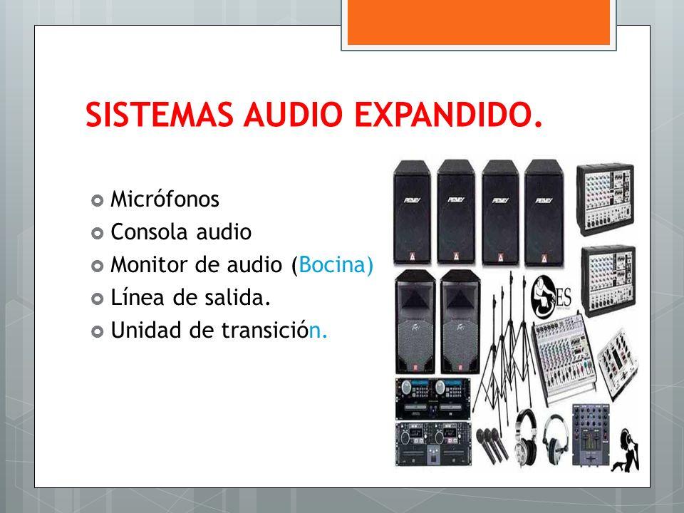 SISTEMAS AUDIO EXPANDIDO. Micrófonos Consola audio Monitor de audio (Bocina) Línea de salida. Unidad de transición.