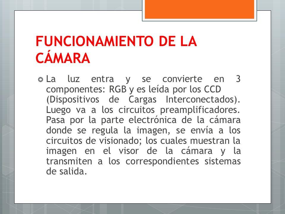 FUNCIONAMIENTO DE LA CÁMARA La luz entra y se convierte en 3 componentes: RGB y es leída por los CCD (Dispositivos de Cargas Interconectados). Luego v