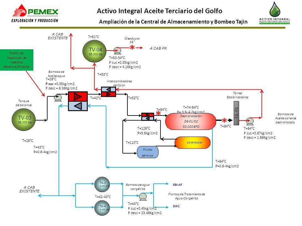 Ampliación de la Central de Almacenamiento y Bombeo Tajin Activo Integral Aceite Terciario del Golfo TV-03 55,000 bls Intercambiadores de Calor Deshid