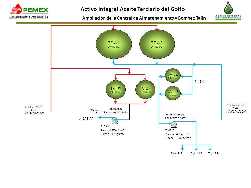 Ampliación de la Central de Almacenamiento y Bombeo Tajin Activo Integral Aceite Terciario del Golfo TD-01 30,000 bls TV-02 20,000 bls T=53°C P suc =0