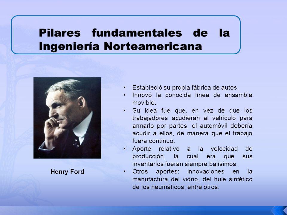 Pilares fundamentales de la Ingeniería Norteamericana Estableció su propia fábrica de autos.
