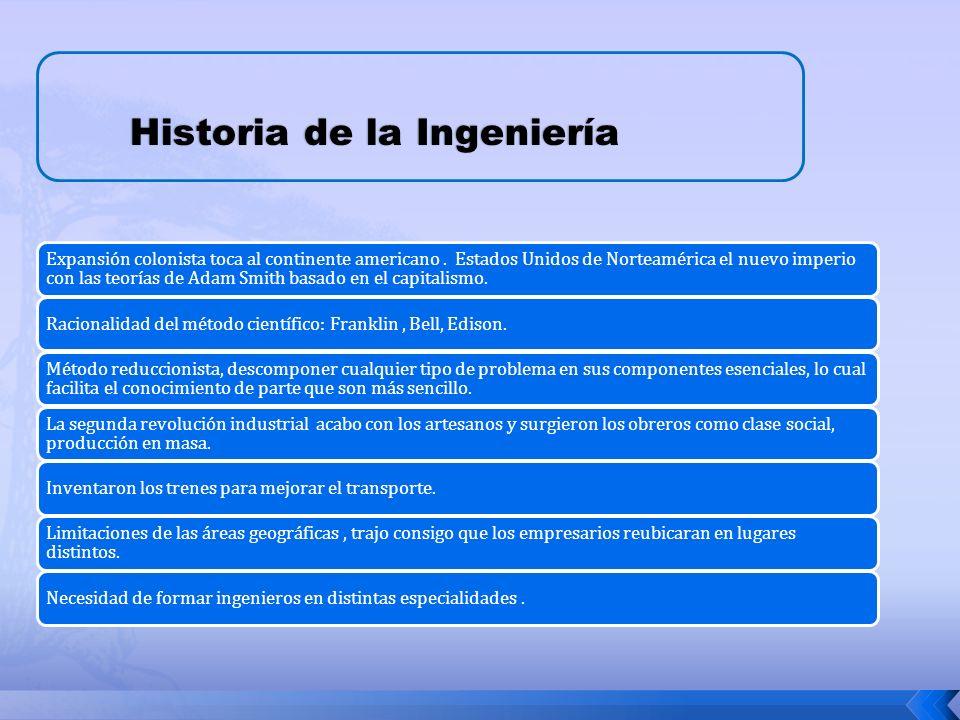 Historia de la Ingeniería Expansión colonista toca al continente americano.