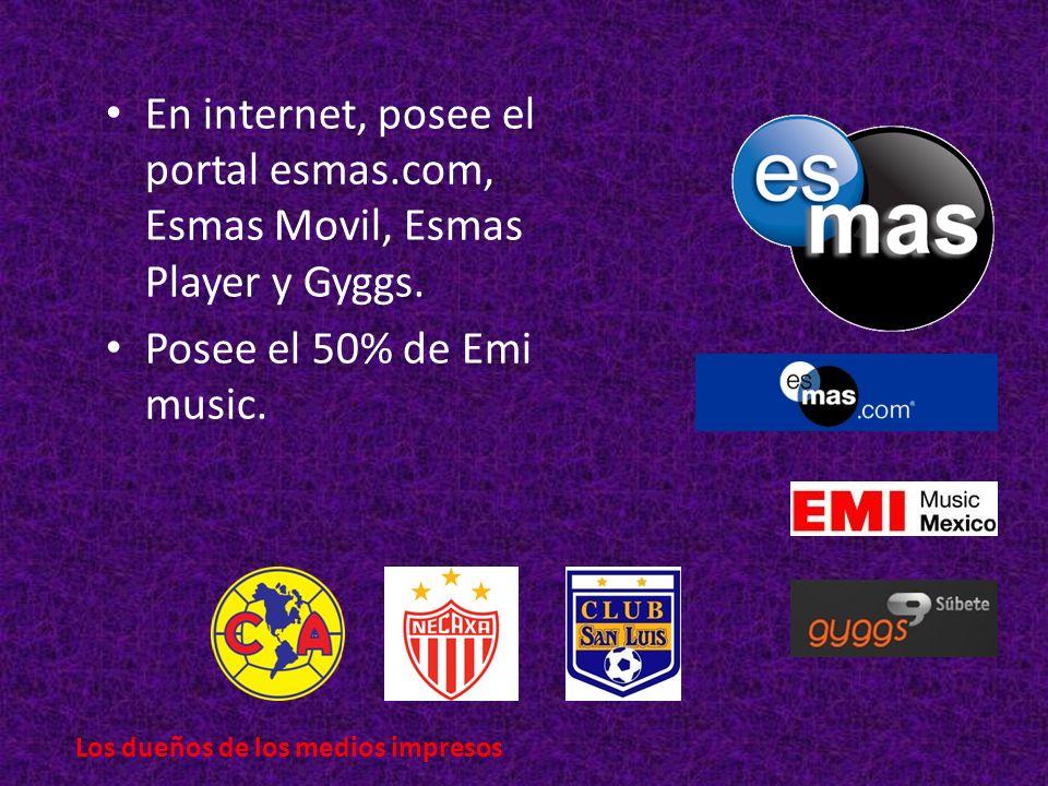 En internet, posee el portal esmas.com, Esmas Movil, Esmas Player y Gyggs.