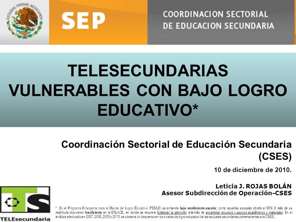 TELESECUNDARIAS VULNERABLES CON BAJO LOGRO EDUCATIVO* Leticia J. ROJAS BOLÁN Asesor Subdirección de Operación-CSES Coordinación Sectorial de Educación