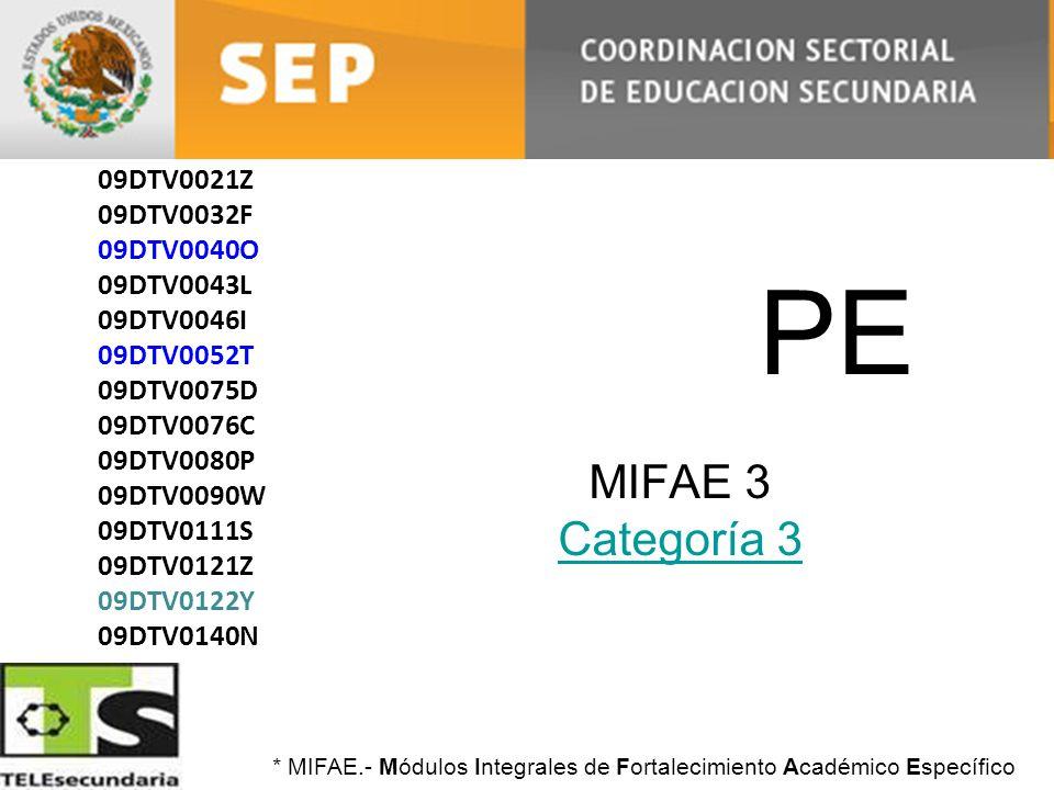PE MIFAE 3 Categoría 3 Categoría 3 09DTV0004J 09DTV0021Z 09DTV0032F 09DTV0040O 09DTV0043L 09DTV0046I 09DTV0052T 09DTV0075D 09DTV0076C 09DTV0080P 09DTV