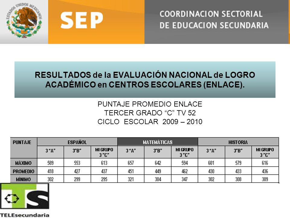 RESULTADOS de la EVALUACIÓN NACIONAL de LOGRO ACADÉMICO en CENTROS ESCOLARES (ENLACE). PUNTAJE PROMEDIO ENLACE TERCER GRADO C TV 52 CICLO ESCOLAR 2009
