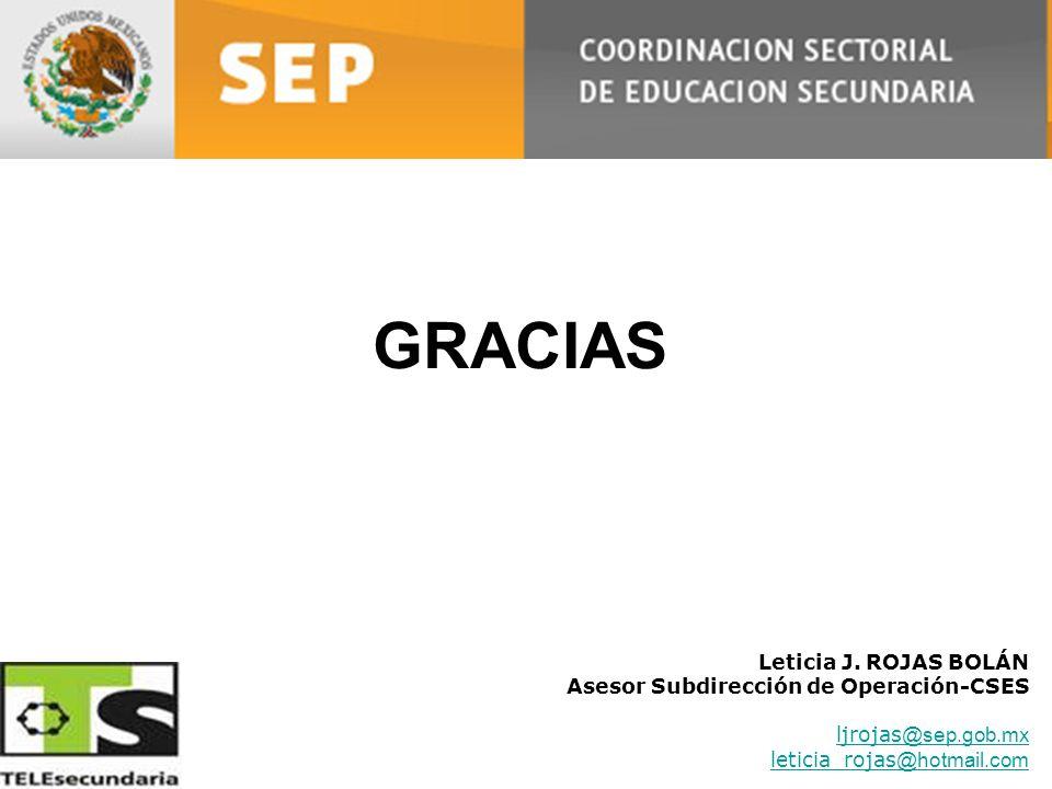 Leticia J. ROJAS BOLÁN Asesor Subdirección de Operación-CSES ljrojas @sep.gob.mx leticia_rojas @hotmail.com GRACIAS