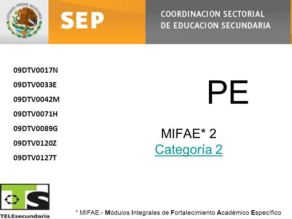 PE MIFAE* 2 Categoría 2 Categoría 2 09DTV0017N 09DTV0033E 09DTV0042M 09DTV0071H 09DTV0089G 09DTV0120Z 09DTV0127T * MIFAE.- Módulos Integrales de Forta