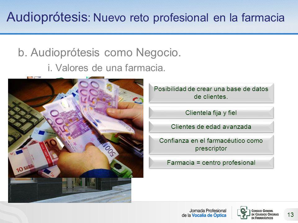 13 Audioprótesis : Nuevo reto profesional en la farmacia b.