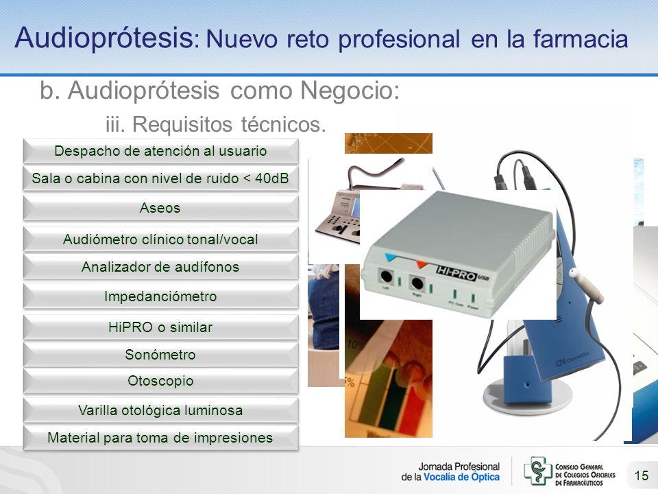 15 Audioprótesis : Nuevo reto profesional en la farmacia b.