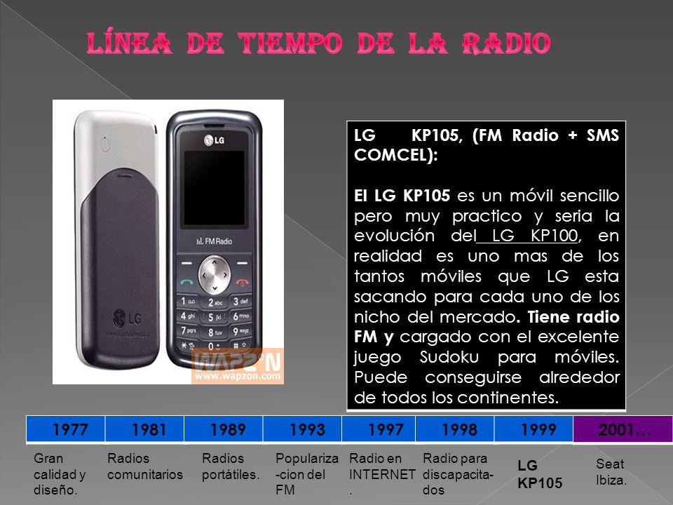 1977 1981 1989 1993 1997 1998 1999 2001… Seat Ibiza. LG KP105 Radio para discapacita- dos Radio en INTERNET. Populariza -cion del FM Radios portátiles