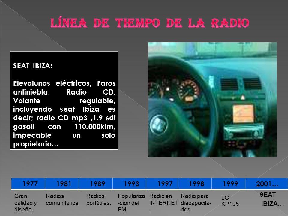 1977 1981 1989 1993 1997 1998 1999 2001… LG KP105 Radio para discapacita- dos Radio en INTERNET. Populariza -cion del FM Radios portátiles. Radios com