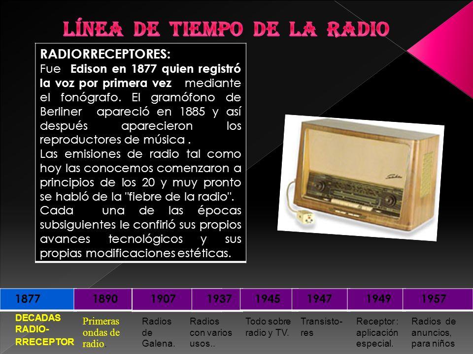 DECADAS RADIO- RRECEPTOR 1877 1890 1907 1937 1945 1947 1949 1957 RADIORRECEPTORES: Fue Edison en 1877 quien registró la voz por primera vez mediante e